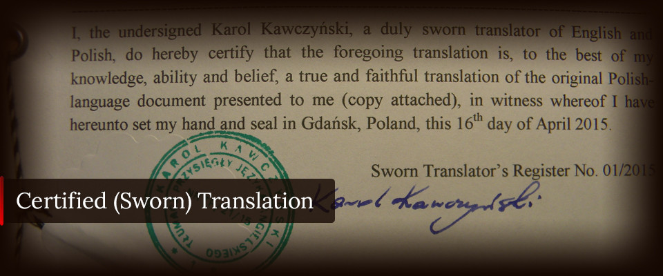 polish sworn translation